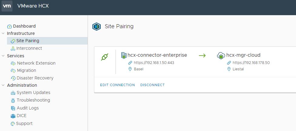 HCX Site Pairing