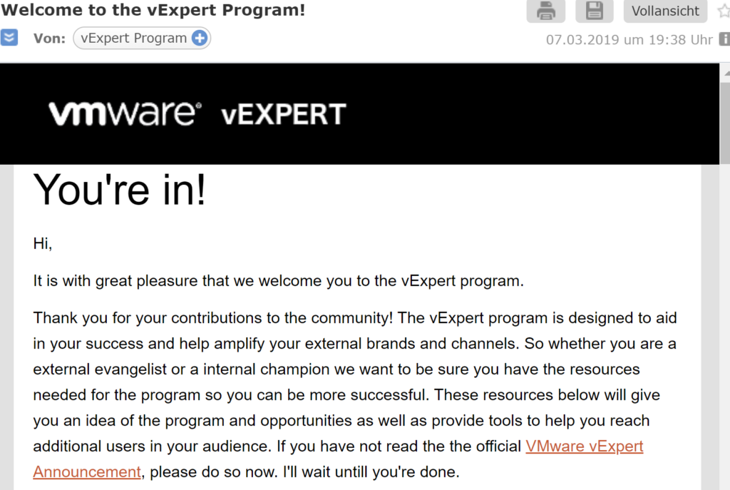 vExpert 2019 You are in